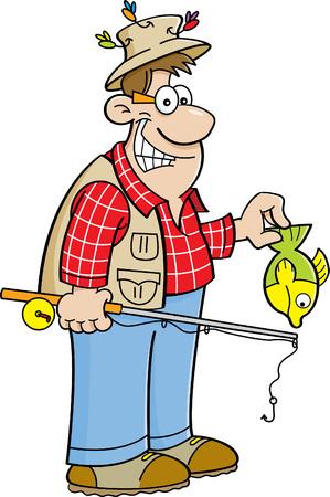 釣り竿と小さな魚を保持している漁師の漫画イラスト。
