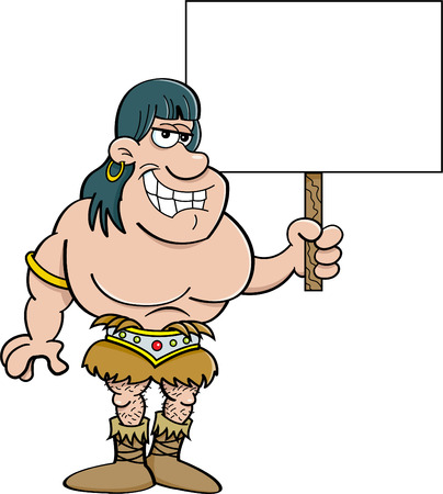 holding sign: Cartoon illustration of a barbarian holding a sign.