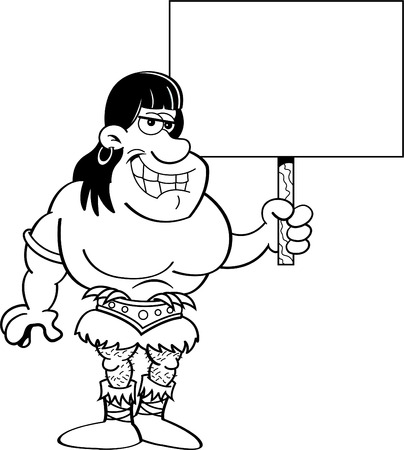 barbarian: Black and white illustration of a barbarian holding a sign.