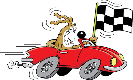 Cartoon illustration of a dog in a sports car waving a checkered flag.