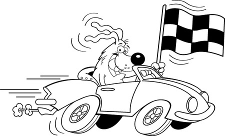 car flag: Black and white illustration of a dog in a sports car waving a checkered flag.