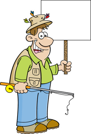 rod sign: Cartoon illustration of a fisherman holding a fishing rod and a sign.