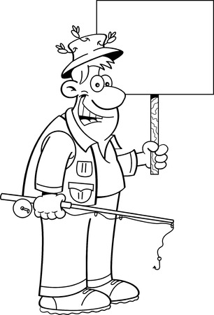 Black and white illustration of a fisherman holding a fishing rod and a sign. Ilustracja