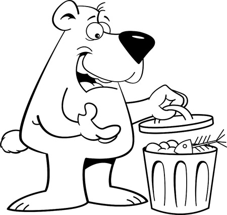 Black and white illustration of a bear looking in a garbage can.