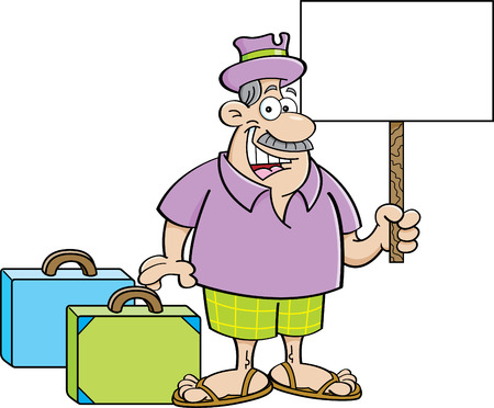 holding sign: Cartoon illustration of a man with suitcases and holding a sign.
