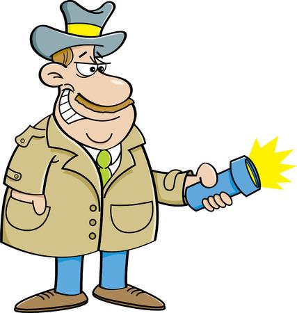 police man: Cartoon illustration of a detective holding a flashlight. Illustration