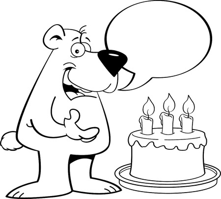 Black and white illustration of a bear with a speech balloon and a birthday cake.