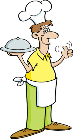 chef clipart: Cartoon illustration of a man in a chefs hat holding a platter.