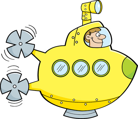 cartoon submarine: Cartoon illustration of a man in a submarine.