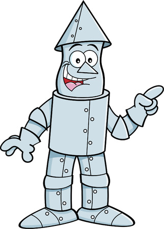 tin: Cartoon illustration of a tin man pointing.