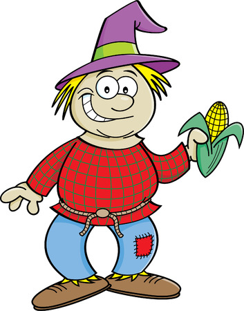 Cartoon illustration of a scarecrow holding an ear of corn.