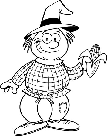 Black and white illustration of a scarecrow holding an ear of corn.