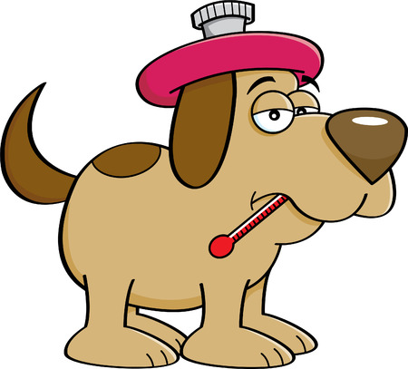 hot dog: Cartoon illustration of a sick dog with a thermometer.
