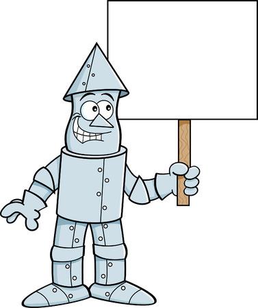 Cartoon illustration of a tin man holding a sign. Ilustração