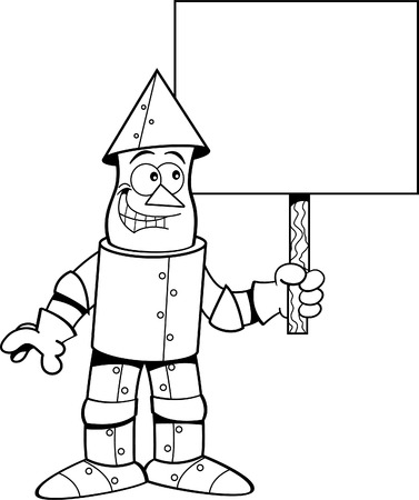 holding sign: Black and white illustration of a tin man holding a sign. Illustration