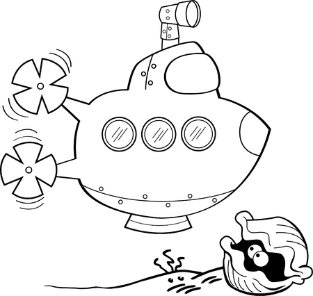 Black and white illustration of a submarine and clam.