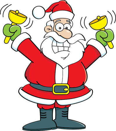 clip art santa claus: Cartoon illustration of Santa Claus ringing bells.