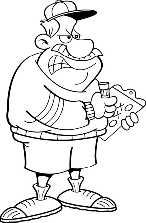 Black and white illustration of an angry coach holding a clipboard.