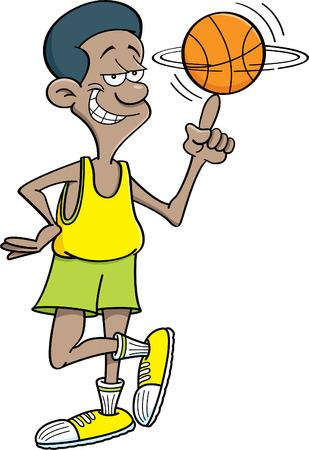 Cartoon illustration of a basketball player spinning a basketball. Ilustrace