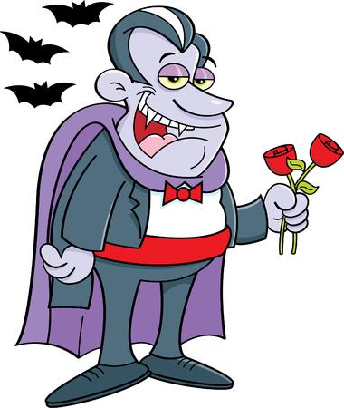 flower clip art: Cartoon illustration of a vampire holding roses. Illustration