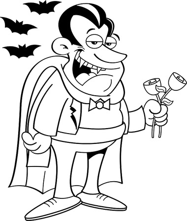 people in line: Black and white illustration of a vampire holding roses.