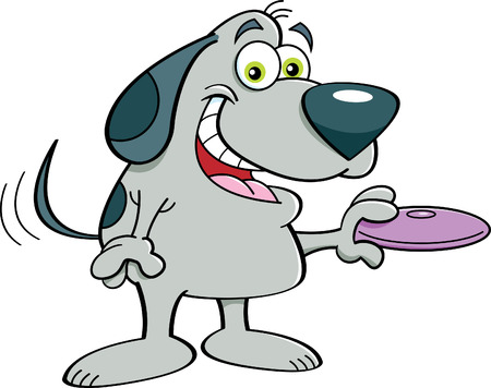 wagging: Cartoon illustration of a dog holding a flying disk.