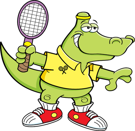 Cartoon illustration of an alligator playing tennis.