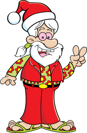 claus: Cartoon illustration of a man dressed as a hippie and wearing a Santa hat.