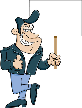 Cartoon illustration of a man giving thumbs up and holding a sign.