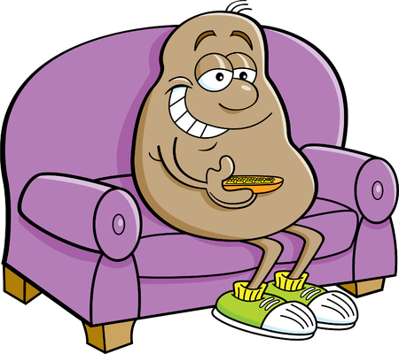 Cartoon potato sitting on a couch with a television remote control. Illustration