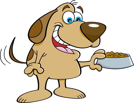 wagging: Cartoon illustration of a happy dog holding a dog food dish.