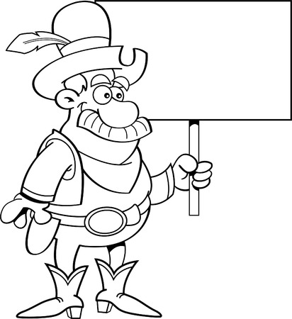 cartoon clipart: Black and white illustration of a cowboy holding a sign.