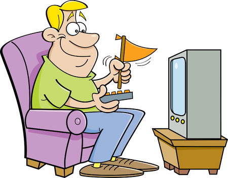 Cartoon illustration of a man watching television and holding a pennant.
