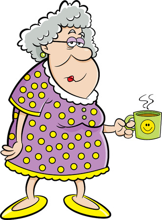 Cartoon illustration of an old lady holding a coffee mug.