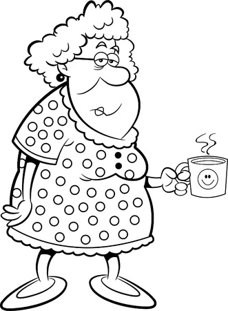 Black and white illustration of an old lady holding a coffee mug.