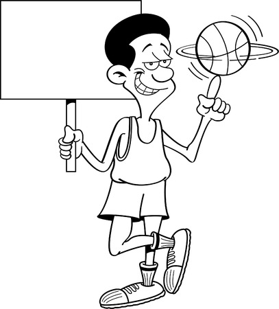 basketball cartoon: Black and white illustration of a basketball player holding a sign while spinning a basketball.