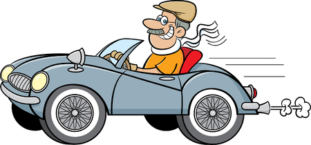 Cartoon illustration of a man driving a sports car.