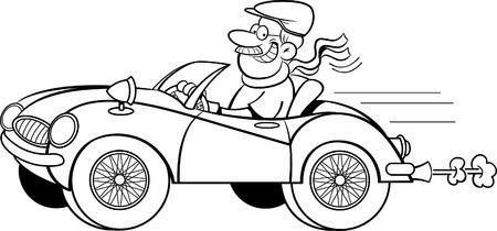 uomo felice: Illustrazione in bianco e nero di un uomo alla guida di una vettura sportiva. Vettoriali