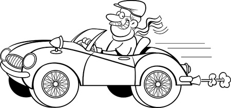 Black and white illustration of a man driving a sports car.