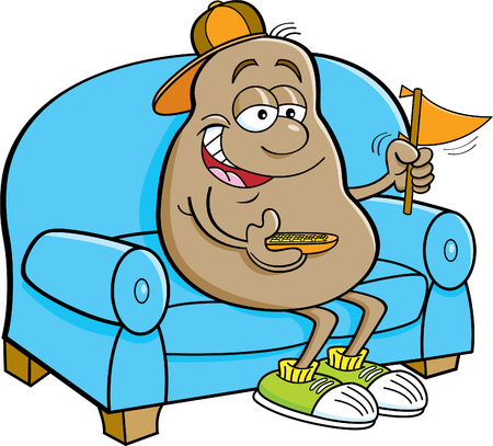 Cartoon illustration of a potato sitting on a couch and holding a pennant.