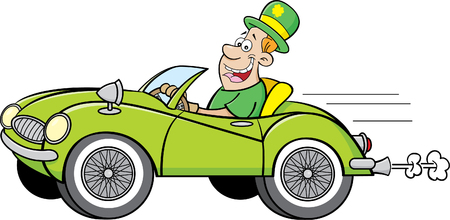 Cartoon illustration of a man wearing a derby and driving a sports car. Illustration