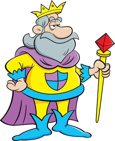 scepter: Cartoon illustration of a king holding a scepter. Illustration