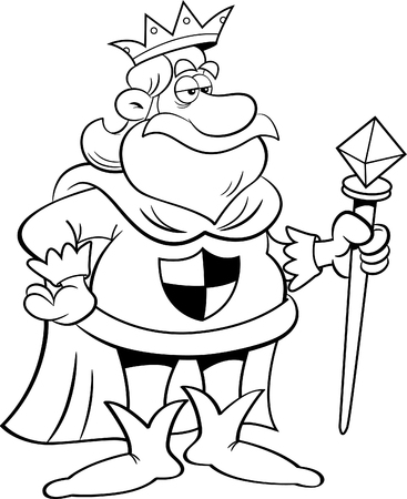 scepter: Black and white illustration of a king holding a scepter. Illustration