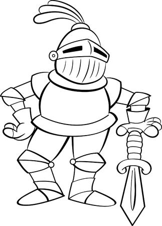 Illustrazione in bianco e nero di un cavaliere appoggiato su una spada. Vettoriali