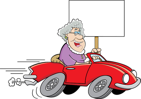 happy old age: Cartoon illustration of an old lady driving a sports car and holding a sign.