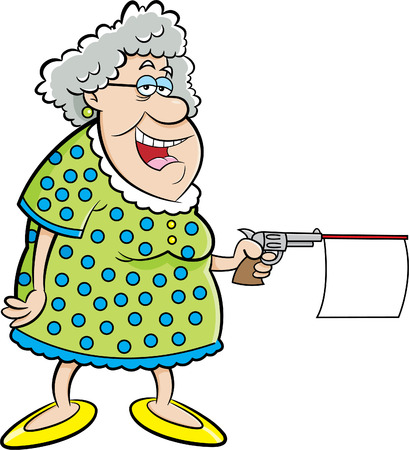 woman smiling: Cartoon illustration of an old lady shooting a gun with a message.
