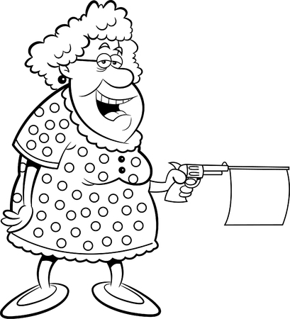 happy old age: Black and white illustration of an old lady shooting a gun with a message.