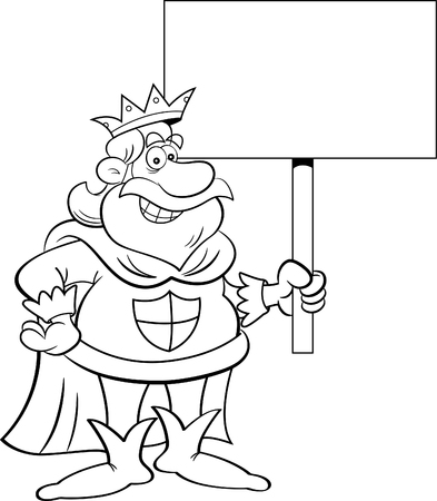 Black and white illustration of a king holding a sign. Ilustracja
