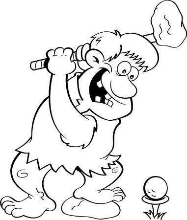Black and white illustration of a caveman playing golf. Illustration