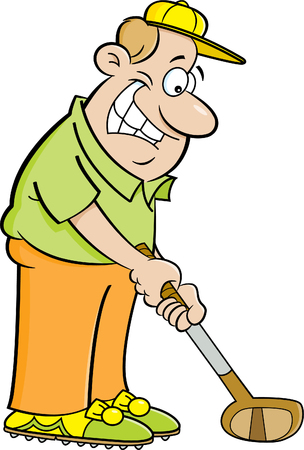 healthy people: Cartoon illustration of a man playing golf.